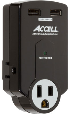 1.Accell D080B-011K Travel Surge Protector with 612 Joules Dual USB Charging, 3 Outlets, Folding Plug - Black, Top 10 Best Travel Power Adapters 2015 Reviews