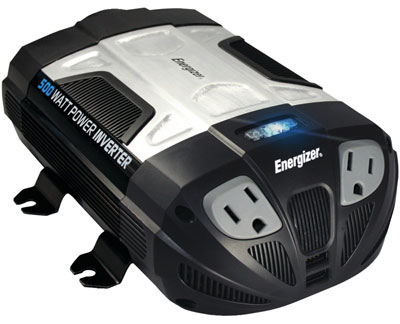 7. ENERGIZER 500W Power Inverter 12V DC cigarette lighter or battery clips to 120 Volt AC