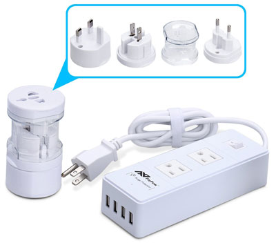 5. FlePow 1250W Power Strip+International Travel Outlet Plug Adapter(US to Euro/UK UK to USA/AU) Portable Global Converter with 2AC Outlet
