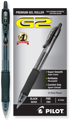 10. Pilot G2 Retractable Premium Gel Ink Roller Ball Pens