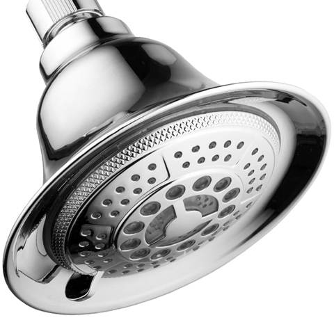 6. DreamSpa All Chrome Water Temperature Controlled Color Changing 5-Setting LED Shower-Head