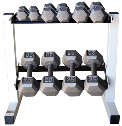 6. Cap Barbell Solid Hex Dumbbell Set with Rack (150 Pound)