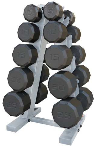 9. CAP Barbell 150 lb. Eco Dumbbell Set with Rack