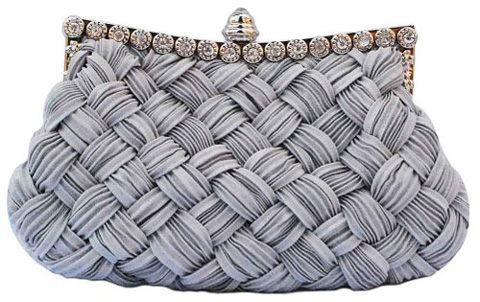 2. Chicastic Pleated And Braided Rhinestone Clutch Purse