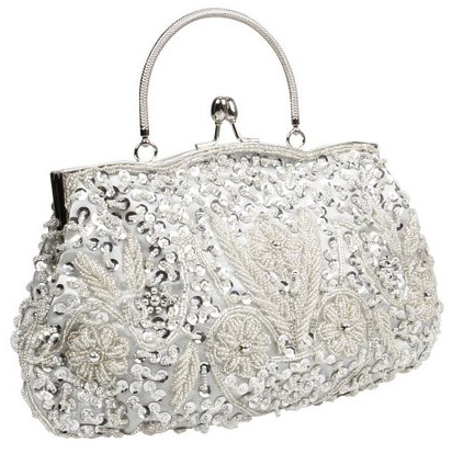 5. BMC Beaded Sequin Design Metal Frame Evening Clutch