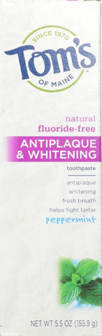8. Tom's of Maine Antiplaque and Whitening Fluoride-Free Toothpaste