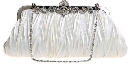 3. Women's Vintage Satin Pleated Envelope Wedding Evening Handbag Clutch
