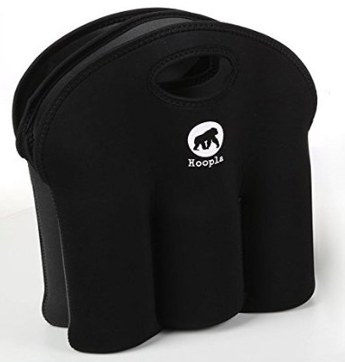 4. The Hoopla Gorilla Bag - Deluxe Insulated 6 Pack Bottle Carrier - Durable Black Neoprene Bottle Tote