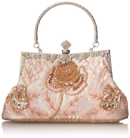 6. MG Collection Ginny Seed Beaded Rose Evening Purse Clutch Bag