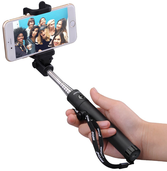 06. Mpow iSnap X One-piece U-Shape Self-portrait Extendable Selfie Stick with built-in Bluetooth Remote Shutter