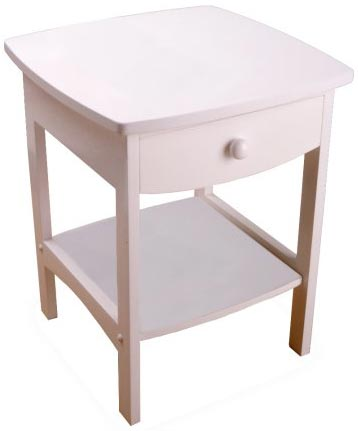 3. Night Stand with Drawer and Shelf, White