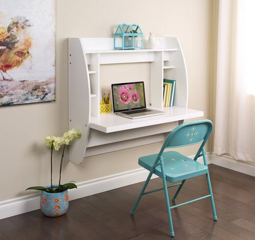 9. White Floating Desk With Storage