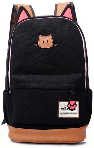 10. Moolecole Leather & Canvas Backpack School Bag Laptop Bag with Cat's Ears Design