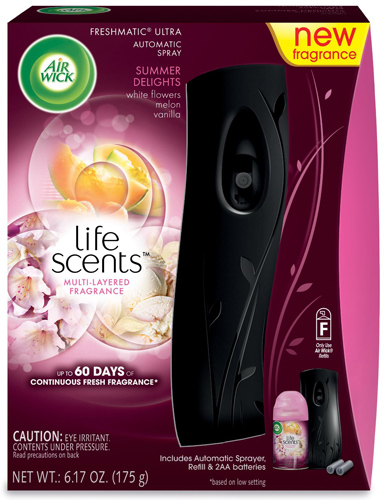 2. Air Wick Life Scents Automatic Air Freshener Spray Starter Kit, Flowers, Melon and Vanilla