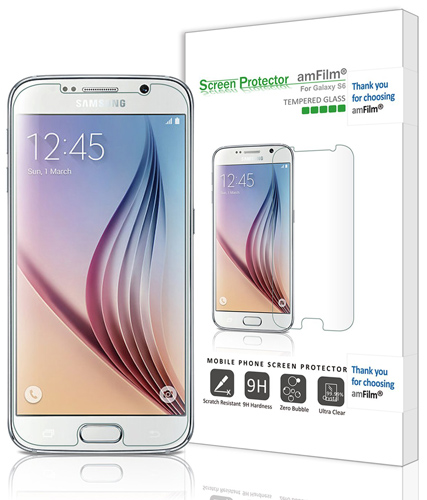 12. amFilm Galaxy S6 Screen Protector Tempered Glass (Front) and PET (Back) Screen Protector for Samsung Galaxy S6