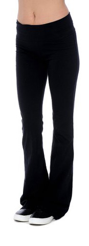6. Fold-over Waistband Stretchy Cotton-blend Yoga Pants