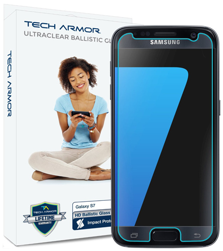 9. Tech Armor Samsung Galaxy S7 HD Clear Ballistic Glass Screen Protector [1-Pack]