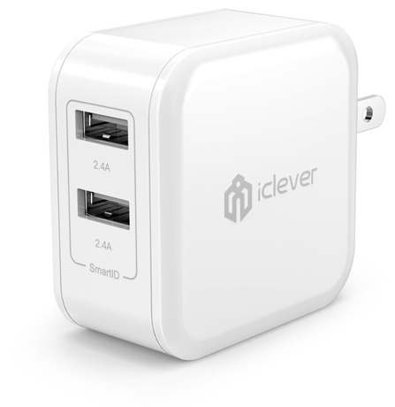 3. iClever BoostCube 4.8A 24W Dual USB with SmartID Technology Travel Wall Charger