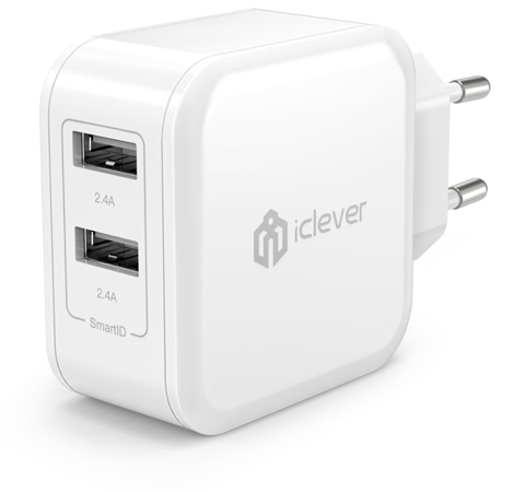 9. iClever BoostCube EU Plug 4.8A 24W Dual USB with SmartID Technology Wall Charger