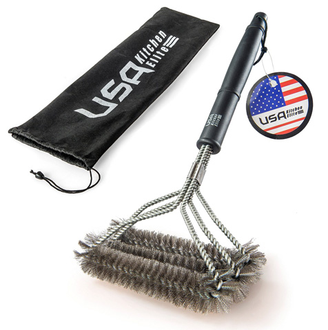 6. 2016 Edition BBQ Grill Brush By USA Kitchen Elite® - Best Barbecue Grill Cleaner