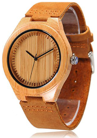 9. CUCOL Bamboo Wooden Watch with Brown Cowhide Leather Strap