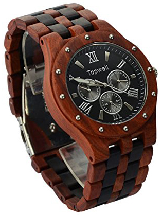1. Topwell Men's Date Time Week 24 Hours Wood Wooden Watches
