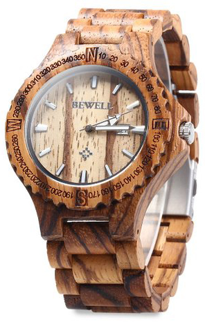 2. GBlife BEWELL ZS - W023A Wooden Bangle Quartz Watch
