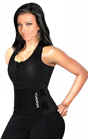 1. YIANNA Neoprene Sauna Suit Tank Top Vest with Adjustable Shaper Waist Trainer Belt
