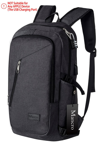 5. Anti Theft Business Laptop Backpack with USB Charging Port by Mancro Black