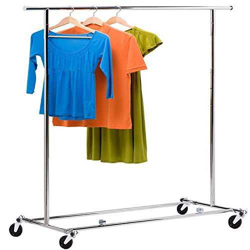 Dealkoo Clothing Garment Rolling Rack Clothes Adjustable Showing Stand Movable Hanger