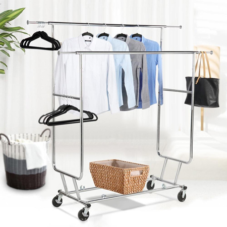 Topeakmart Commercial Grade Adjustable Double-Rail Clothing Hanging Rack on Wheels Rolling Garment Rack Drying Rack w/wheels,Chrome Finish