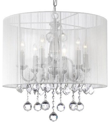 Crystal Chandelier Chandeliers With Large White Shade & 40MM Crystal Balls ! H 19.5 x W 18.5