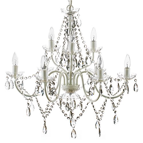 The Original Gypsy Color Extra Large 9 Light Crystal Chandelier H26 W27, White Metal Frame with Clear Acrylic Crystals