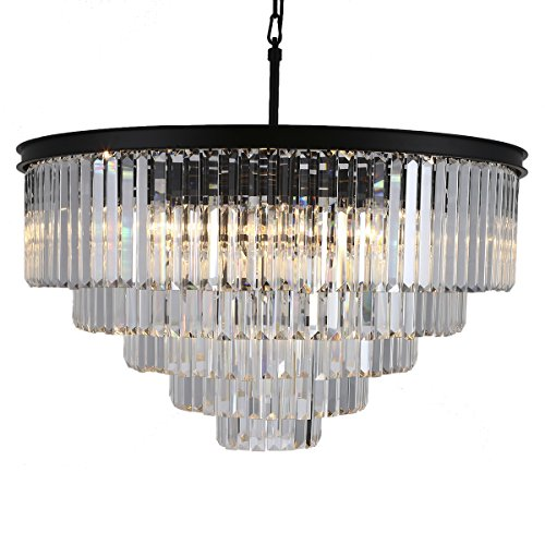 Odeon Crystal Chandelier 17 Lights Round Pendant Hanging Light Extra Large Crystal Prism Chandeliers Lighting