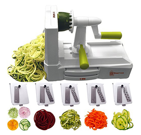 Brieftons 5-Blade Spiralizer (BR-5B-02): Strongest-and-Heaviest Duty Vegetable Spiral Slicer