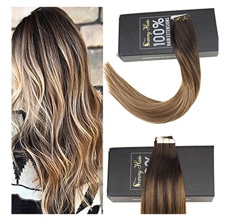 Sunny 16inch Remy Hair Extensions Human Hair Tape in Ombre Darkest Brown to Medium Brown Mixed Caramel Blonde Balayage Tape in Hair Extensions Human Hair 50G